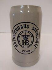Hb 1 Liter Hofbrauhaus Munchen Ceramic Stoneware Beer Stein Germany