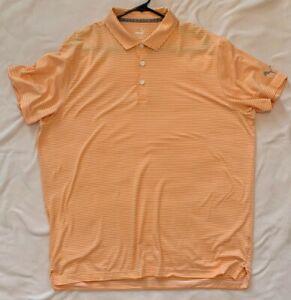 PUMA Men's Caddie Stripe Golf Polo Shirt - Vibrant Orange Heather - XL