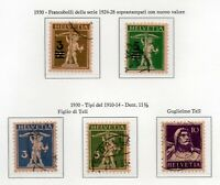 1930 SVIZZERA TELL 2 SERIE COMPLETE 5 VALORI USATI UNIF. N.239-43