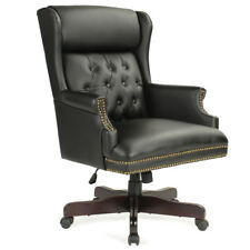 Executive Wingback Traditional Office Chair Button Tufted Style Wood Base, Black