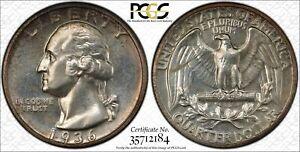 1936 PROOF WASHINGTON QUARTER 25C SILVER PCGS & CAC CERTIFIED PR 65 PROOF (184)