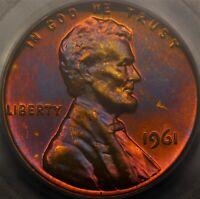 PCGS PR67RB 1961 Proof Lincoln Memorial Cent 1c Purple Toned Blue Color PR PF66