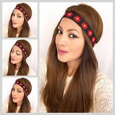 bohemian Daisies headband Women's Boho Hair Band Hippie Style Red Daisies Band