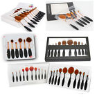 10Pcs Pro Oval Cream Puff Eyebrow Makeup Brushes Set Eyeliner Kabuki Toothbrush