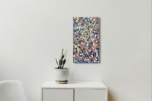 """Original Modern art Abstract Acrylic Painting on stretched canvas ~ 10 X 20"""""""
