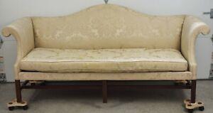 Kittinger Williamsburg Mahogany Chippendale Sofa Gold Damask Fabric WA 1005