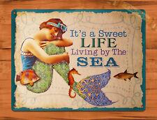 "TIN-UPS TIN Sign ""Life's Better At The Beach"" Vintage Garage Vacation Mermaid"