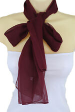Women Classy Fashion Long Soft Fabric Scarf Dark Red Wine Neck Tie Wrap Burgundy