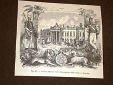 Rarissima veduta di Londra nell'800 Palazzo della Compagnia delle Indie