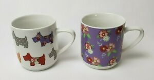Scottie Dogs Coffee Mugs (2) Stacking Floral White Multi-Color