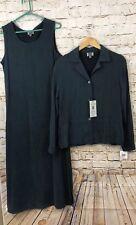 Amy K Su AKS Dress Set womens medium Jumper Sleeveless Blazer New Tencel Teal M9