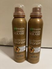 2 X Garnier Ambre Solaire No Streaks Bronzer Medium Self Tan Body Mist, 150 ml