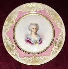 Antique French Sevres Marie Antoinette Porcelain Portrait Plate Signed O Brun