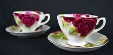 English Design Country Rose Set Of Two New Bone China 220cc Tea Cup And Saucer