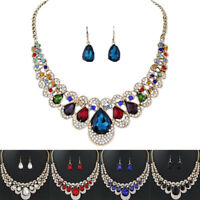 Women Gold Plated Chain Necklace Earrings Crystal Rhinestone Jewelry Set WL