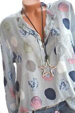 ITALY MODA Bluse Pailletten Tunika BIG DOTS Hemd 36 38 40 Grau Blau Pink NEU