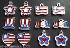 12 Patriotic Star Heart Hat USA Flag Charm Jewelry Bracelet Earrings Making MP12
