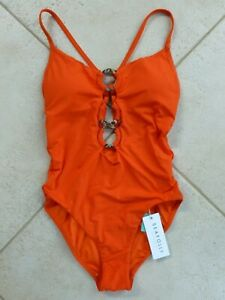 Seafolly One Piece AU 10 Tangelo Active Marble Ring Front Maillot Adjust. Straps