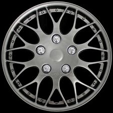 "16"" Set of 4 Dark Gray Wheel Covers Snap On Hub Caps fit on R16 Tire & Steel Rim"