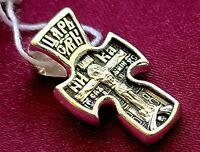 Russian Cross Crucifix Christ Virgin Mary Silver 925 Gift #30.41