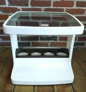 MCM Syroco Plastic White Laquer Side End Glass Table Nightstand Cup Holder MOD