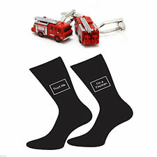 Red Fire Engine Cufflinks & Trust me I'm a Fireman Socks Gift Set X2SJ008-X6S047