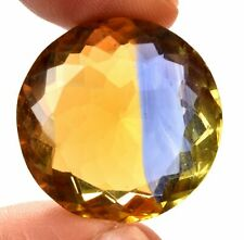 62.00 Cts. Natural Ametrine Blue & Yellow Round Cut Certified Gemstone