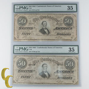 Lot of 2 Sequential 1864 Confederate $50 Graded by PMG as Ch VF-35! Amazing!