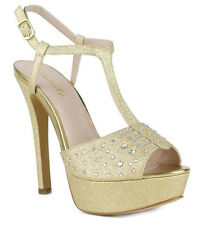 New Celeste Gold High Heel Pump Rhinestone open peep toe Stiletto sandal Sz 9