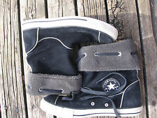 Women's Converse Chuck Taylor Andover Leather Foldover Boots Shoes Black Size 9