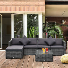 Outsunny 6-Piece Outdoor Patio Rattan Wicker Furniture Sofa Set w/ Cushions Grey