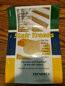 trendtex non slip backing stair treads set of 2. 9x27. Beige. Washable. NEW.
