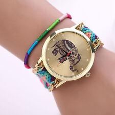 NEW Women Girl Watch Handmade Weaved Braided Elephant Bracelet Dial Quarzt Watch