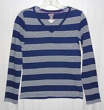 Old Navy Girl Top Tee Size XL 14 V-Neck Navy Blue White Striped Long Sleeve