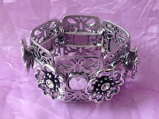Nickel free silver metal glass flower stretch carved statement bracelet