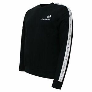 Sergio Tacchini Mens Delman Sweatshirt Taped Casual Jumper Black 038358 166