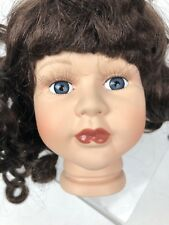 Vtg Porcelain Doll Head 5� Bust Curly Brown Hair Wig Eyelashes Parts Repair
