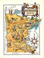 1946 Antique MINNESOTA State Picture Map Animated Cartoon Map 7856