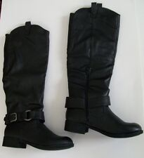BLACK FAUX LEATHER BUCKLE STRAP KNEE HIGH BOOTS Size 7.5