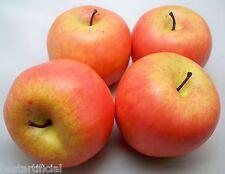 4 Grande Best Artificial Rojo Manzanas Decorativo Plástico Bol Fruta Realista
