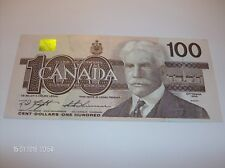 100 DOLLAR BILL CANADA 1988 SERIAL NUMBER  LOW  BJK0000335