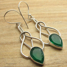Earrings ! Silver Plated Art Jewelry Green Onyx Gem Twisted Wire Spiral