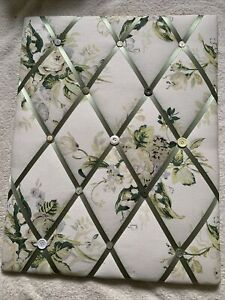 Laura Ashley Winter Lily Fabric Pin Board, Notice Board. Hand Crafted. Buttons
