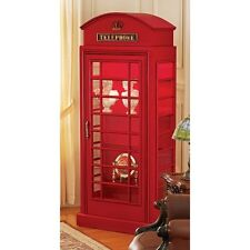 NE36832 - British Telephone Booth Display Cabinet - 6' Tall - 4 Glass Shelves!