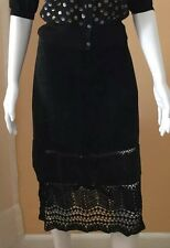 Kenneth Cole Black Suede Skirt with Knit Trim, size 2