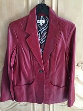 Denin & Co. One Button Claret Red Leather Jacket Pin Tuck Detail NWOT  Medium