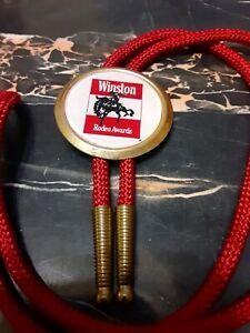 RARE Vintage WINSTON RODEO BOLO TIE Western Bronc Rider Cowboy Award Trophy USA