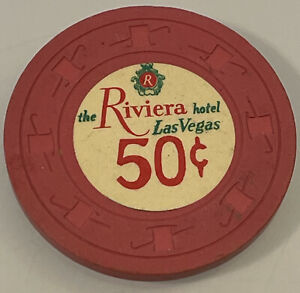 RIVIERA $.50 Casino Chips Las Vegas Nevada 3.99 Shipping
