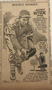 1940 newspaper panel - Mickey Witek New York Giants, Red Hot Rookies