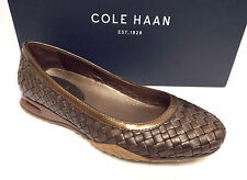 New COLE HAAN SIZE 5.5 Air Bria Bronze Brown Woven Ballet Flats Shoes 5 1/2
